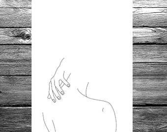 Women's back and hand linear line drawing available in A6, A5 or A4 size, black and white minimal illustration artwork