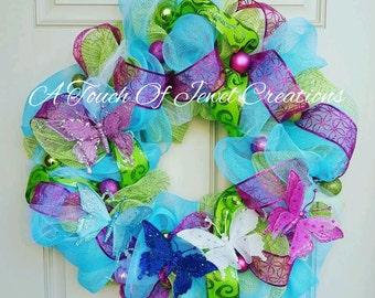 Blue Green Pink Butterfly Wreath
