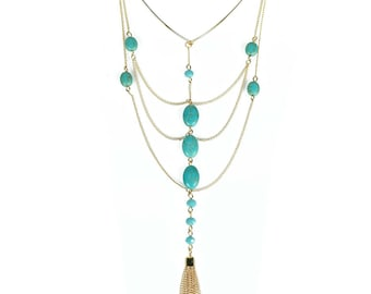 TCFF Long Y Shape Turquoise Chain Choker Necklace
