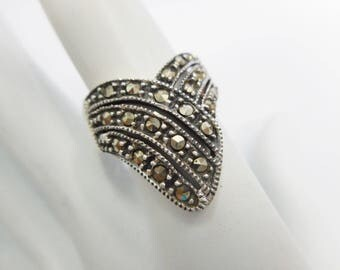 Marcasite Ring, Sterling Ring, Vintage Ring, Silver Ring, V Band, Sterling Band Ring, Sterling Silver Marcasite V Style Ring Sz 8.25 #1203