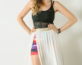 Open Wide Chiffon long White Skirt,Woman Skit with multicolor short stretch inside,Trend Skirt,Natural Long Skirt//#JADE//Size-S,M,L