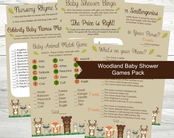 Baby Shower Games, Printable Woodland Theme Baby Shower Games, Set of 8 Games, Instant Download PDF