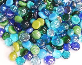 Miniature Glass Pebbles - Bluey Green Mix