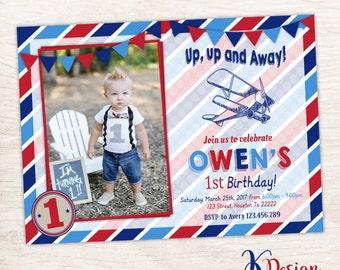 Vintage Airplane  Birthday Invitation, Airplane Party, Airplane Invitation Printable