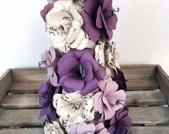 Flower pyramid of handmade paper roses