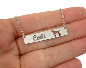Sterling Silver GERMAN SHORTHAIRED POINTER Dog Name Bar Necklace, Custom Bar Necklace, Personalized Animal Necklace, Silver Dog Necklace