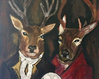 Original Reverse Deer Portrait on Canvas
