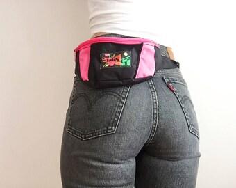 90s pink & black fanny pack