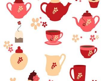 Set of Tea Pots and Cups, Red, Pink, Beige, Breakfast, Mug, Saucer, Illustration, PNG