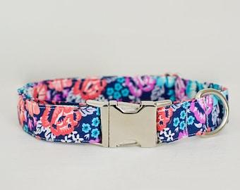 Dog Collar- Girl Dog Collar- Flower Dog Collar- Floral Dog Collar- Rose Dog Collar- Colorful Dog Collar- Pretty Dog Collar- Cute Dog Collar