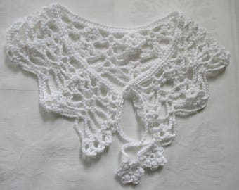 Crochet collar lace Peter Pan collar white white cotton crochet selfmade collar