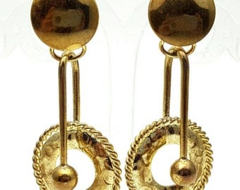 Gold tone Metal Drop Earrings Vintage Punk Rock from the 90s Steampunk Mechanical Industrialization Hard core Geometrical Grunge Circle