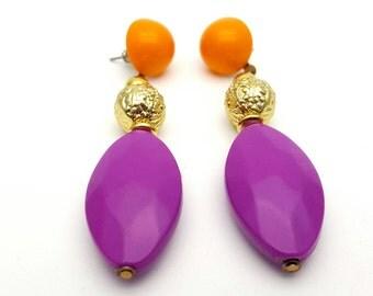 Dangle Purple Orange and Gold Tone Lightweight Plastic Drop Earrings Vintage Plastic from the 80s Modern Fashion Earrings