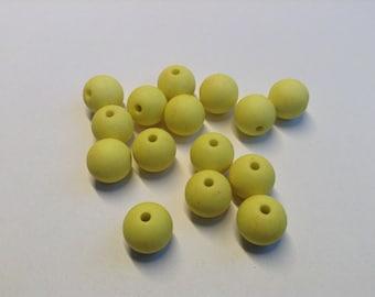 Acrylic beads bright yellow 10 mm #P38