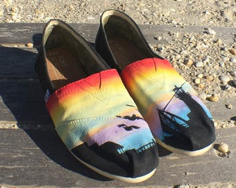 Custom Hand Painted Lighthouse Sunset Beach TOMS Shoes