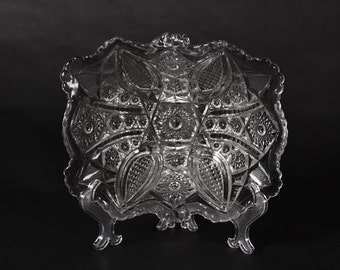 Vintage Oblong Pressed Glass Bowl