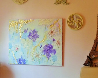 Painting mixed media abstract floral on canvas w/gold leaf