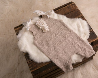 Beige Sitter Overall w/ white silk ruffle RTS-6-9mths,overall prop,silk,ruffle,stretch,knit,cream,overall,sitter,6-9mths