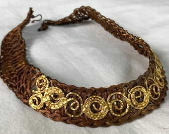 Woven Braided Copper & Hammered Gold Choker Necklace