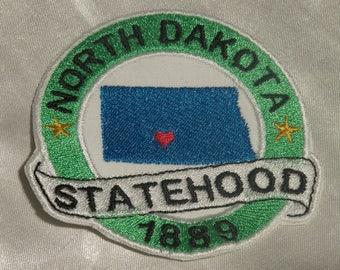 Embroidered North Dakota State Pride Statehood ND Map Souvenir Patch Iron On Sew On USA