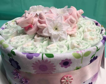 Baby Cakes Sock Rose Diaper Cake!