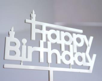 Cake topper white Happy Birthday