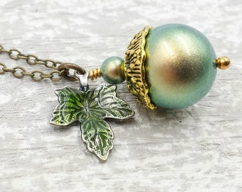 Acorn Necklace, Swarovski Iridescent Green Pearl Acorn, Nature Rustic Woodland Forest Oak Charm, Wedding, Gift For Her
