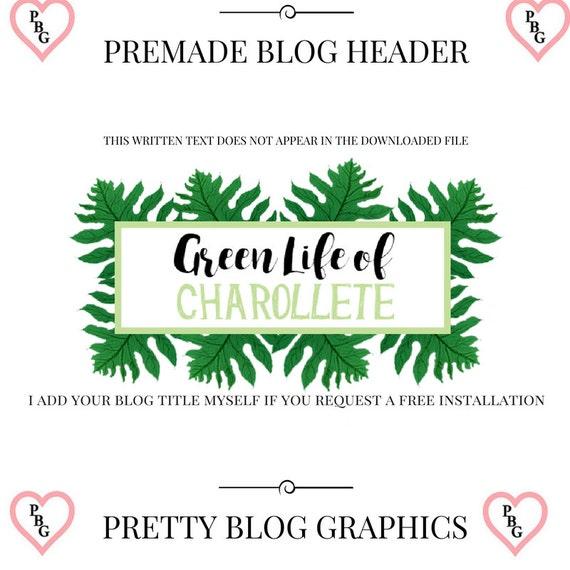 Green Leaf Premade Blog Header and Logo