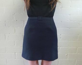 Navy Belted Mini Skirt