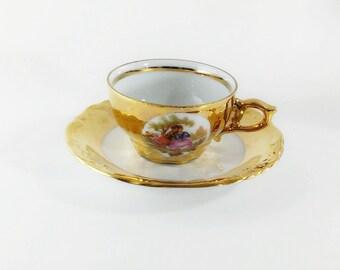 Vintage Handel Bavaria German porcelain,heavy gold demitasse cup saucer,courting scene,Porzellan-manufakturt demitasse,collectible Bavarian