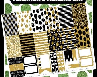 Gold & Black BHP Big Happy Printable Planner Stickers Digital