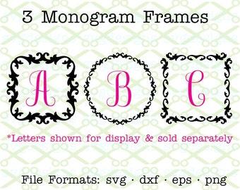 MONOGRAM Frames SVG, Dxf, Eps & Png. SVG Cut Files for Cricut, Silhouette; Set of 3 Vintage Monogram Frames Svg,Flourish Svg Clipart  Frames