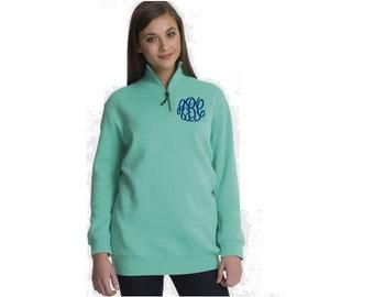 Charles River Ladies Quarter zip pullover, 1/4 zip pullover, monogrammed pullover, bridemaids gifts, wedding gift, quarter zip sweatshirt