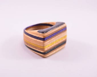 20mm Ring - Purple, blue and yellow - Made from Recycled Skateboards - Flat top
