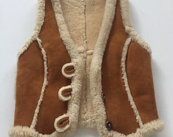 Vintage suede sherpa lined vest 1970's leather vest camel brown size Small