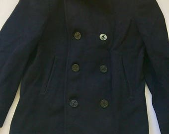 60's Military issue wool jacket Vintage Navy wool pea coat navy blue size 38 Small