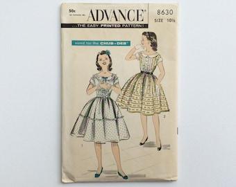 1950s Girls age 10 Summer Dress Sewing Pattern  : Advance 8630