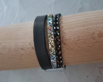 "Wristband leather ""STRING SPRAKLING"""