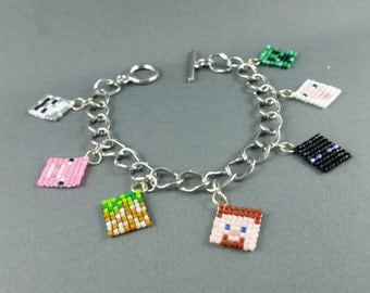Minecraft Charm Bracelet - Pixel Bracelet Minecraft Bracelet Geeky Bracelet Nerdy Bracelet Geeky Gifts Video Game Jewelry - Made to Order