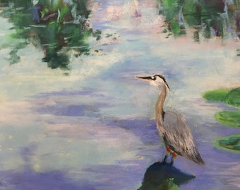 "Original Impressionist Landscape Pastel Painting of a Great Blue Heron, 9"" x 12"""