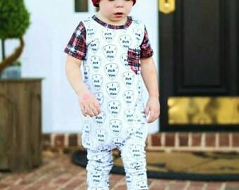 Valentine I Pick You Guitar Take Home Birthday Outfit Music Red Plaid Pocket Trendy Grunge Rockstar Baby Toddler Boy Girl Harem Romper