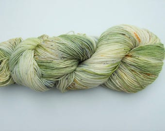 "Speckled Hand Dyed Yarn 100g Superwash Merino Wool, Nylon sock weight ""Aquarium"", green, grey, yellow, white"