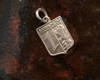 Mannheim Germany vintage sterling silver  travel shield charm pendant