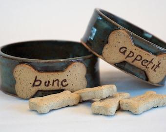 Handmade, wheel thrown, stoneware, dog bowl set