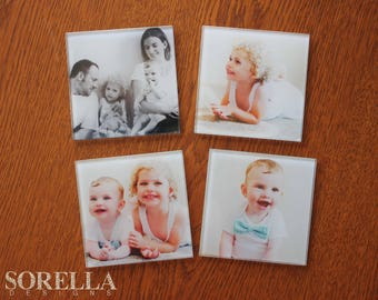 Photo glass coasters, custom, personalised, Christmas gifts, kitchen, decor, coffee, coaster set, gifts, gifts for women, gifts for men