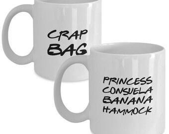 Funny Friends TV Show Coffee Mug Mr Mrs Gift Set- Crap Bag & Princess Consuela Banana Hammock