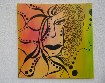 Original MisQue art | Abstract acrylic painting wild Lady #B100063