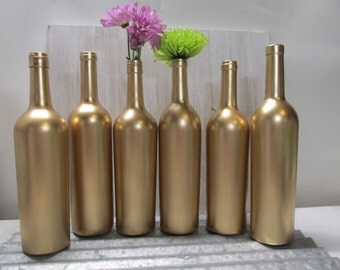Painted Wine Bottle-Flower Vases- Matallic Gold - Set of 6- Rustic/Wedding/Baby Shower/Centerpieces/Bridal Shower/Reception
