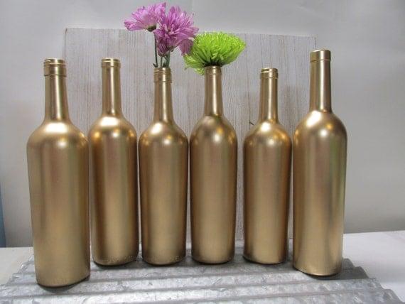 Painted wine bottle flower vases matallic gold set of 6 for Wine bottle flower vase