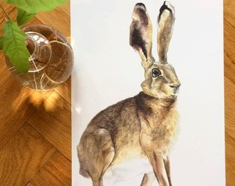 Hare - Watercolour Reproduction